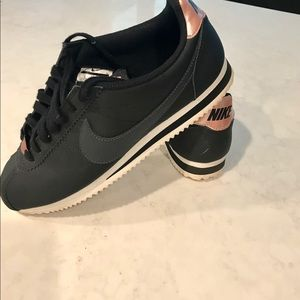 Nike Cortez black leather with rose gold size 9